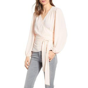 Chelsea28 Wrap Top Pink Wood XS NWT